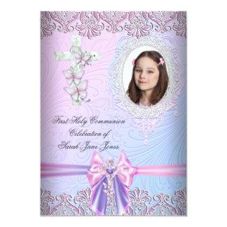 Primera foto rosada bonita de la comunión santa invitación 12,7 x 17,8 cm