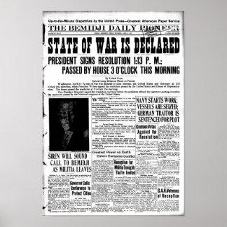 Primera Guerra Mundial declarada - página delanter Póster