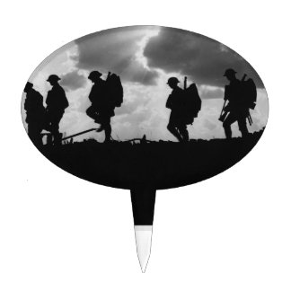Primera Guerra Mundial que marcha silueteada Soldi Decoración De Tarta