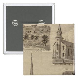 Primera iglesia de Universalisty, Minneapolis, Min Pin Cuadrada 5 Cm