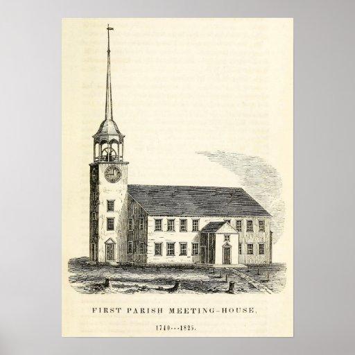 Primera iglesia parroquial 1825 de Portland, Maine Póster