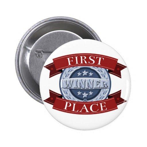 Primera insignia de los ganadores del lugar pin redondo 5 cm