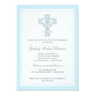 Primera invitación cruzada elegante de la comunión