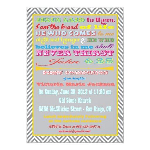 Primera invitación de la comunión del poster