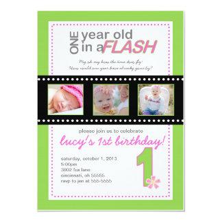 Primera invitación del cumpleaños con las fotos un invitación 13,9 x 19,0 cm