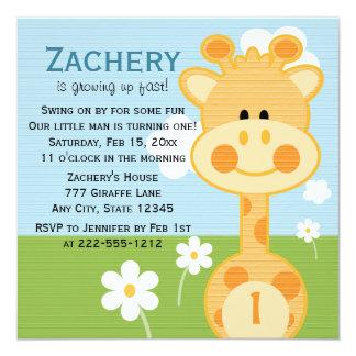 Primera invitación del cumpleaños de la jirafa invitación 13,3 cm x 13,3cm