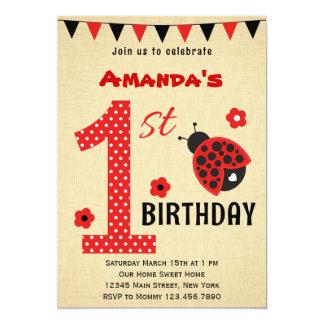 Primera invitación del cumpleaños de la mariquita invitación 12,7 x 17,8 cm
