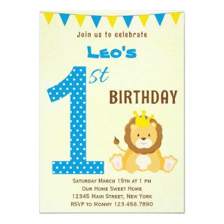 Primera invitación del cumpleaños del león lindo