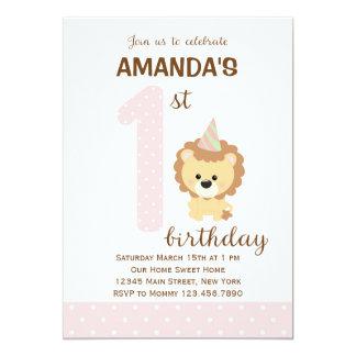 Primera invitación del cumpleaños del león (rosa)