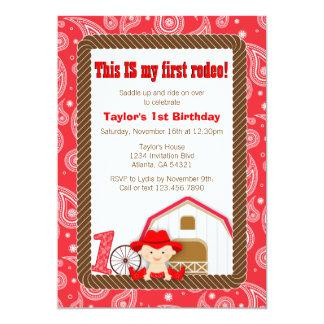 Primera invitación del cumpleaños del rodeo