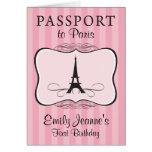 Primera invitación del pasaporte de París del cump Tarjeta