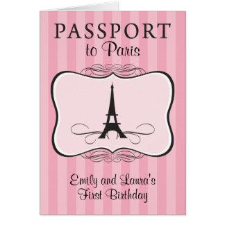 Primera invitación del pasaporte de París del cump Felicitacion