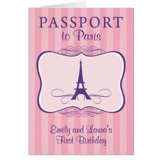 Primera invitación del pasaporte de París del cump Tarjetón