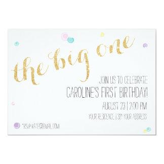 Primera invitación femenina del cumpleaños - oro