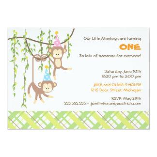 Primera invitación gemela del cumpleaños del invitación 12,7 x 17,8 cm