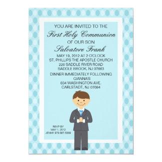 Primera invitación linda azul del muchacho de la