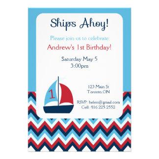 Primera invitación náutica del cumpleaños