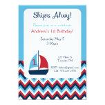 Primera invitación náutica del cumpleaños invitación 12,7 x 17,8 cm