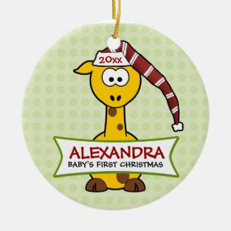 Primera jirafa del navidad del bebé personalizado ornamentos para reyes magos