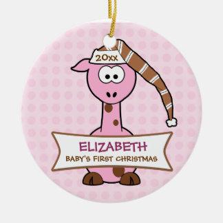 Primera jirafa del navidad del bebé personalizado ornamentos de reyes magos