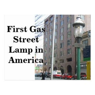 Primera lámpara de calle del gas en América Postal