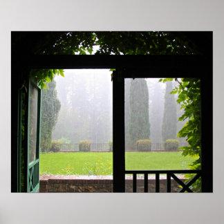 Primera lluvia hiedra y ladrillo poster