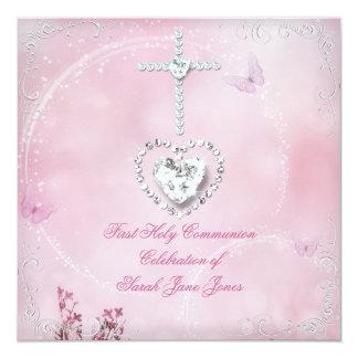 Primera mariposa rosada blanca de la comunión invitación 13,3 cm x 13,3cm