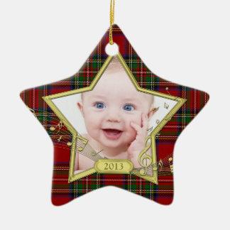 Primera Navidad del tartán de la estrella de la fo
