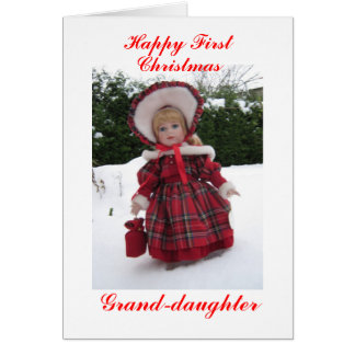 Primera nieta feliz del navidad tarjetón