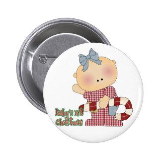 primera niña del navidad del bebé pin redondo 5 cm