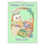 Primera niña feliz de Pascua (personalizable) Tarjeton