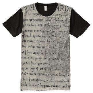 Primera página de Beowulf por todo la camisa de la