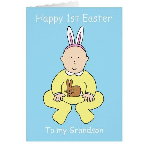 Primera Pascua feliz a mi nieto Tarjetón