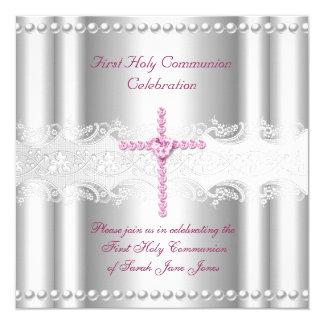 Primera perla del rosa del cordón de la plata de invitación 13,3 cm x 13,3cm