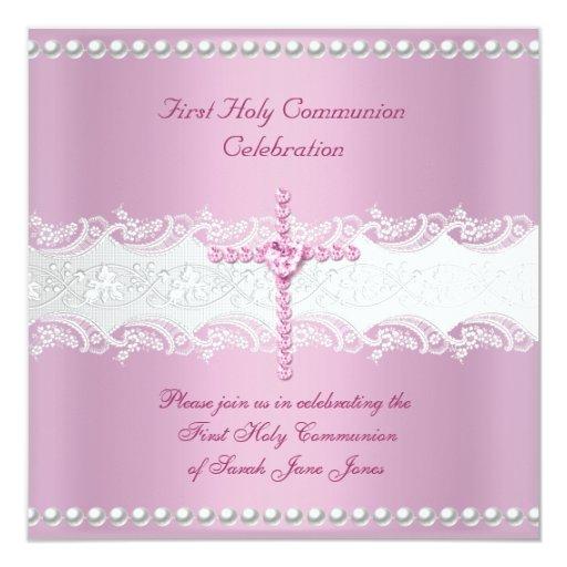 """Primera perla del rosa del cordón del rosa de la invitación 5.25"""" x 5.25"""""""