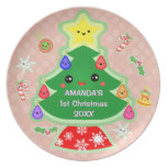 Primera placa del navidad del bebé de encargo platos para fiestas