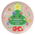 Primera placa del navidad del bebé de encargo plato para fiesta