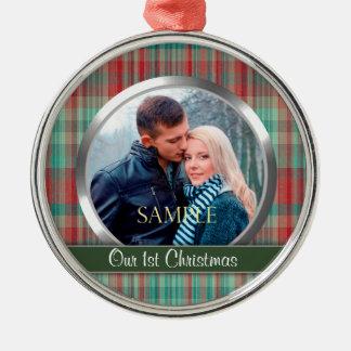 Primera plantilla de la foto de la tela escocesa ornaments para arbol de navidad