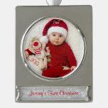 Primera plantilla de la foto del navidad del bebé adornos personalizables