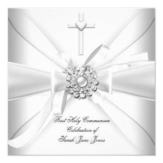 """Primera plata del blanco de la comunión santa del invitación 5.25"""" x 5.25"""""""