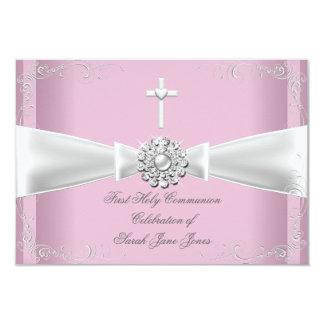 """Primera plata del blanco del rosa de la comunión invitación 3.5"""" x 5"""""""