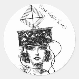 Primera radio móvil pegatina redonda