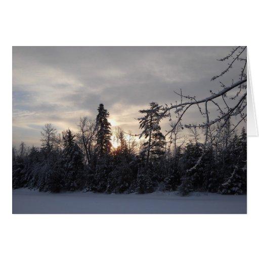 Primera salida del sol del invierno de 2011 tarjeta de felicitación
