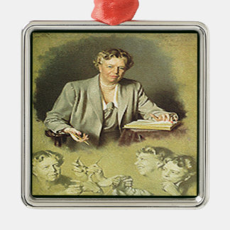 Primera señora Ana Eleanor Roosevelt Adorno Navideño Cuadrado De Metal