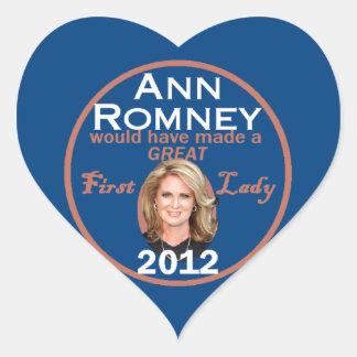 Primera señora de Ana Romney Pegatina En Forma De Corazón