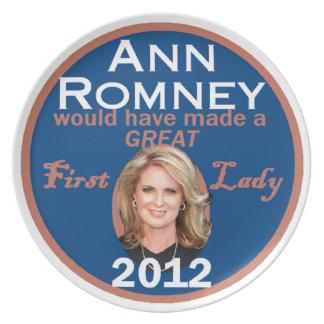 Primera señora de Ana Romney Platos