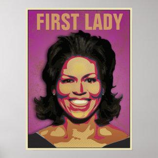 Primera señora Michelle Obama - modificada para re Póster