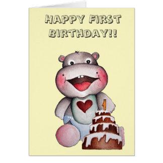 Primera tarjeta de cumpleaños del hipopótamo lindo