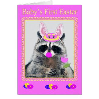 Primera tarjeta de felicitación del bebé feliz de