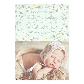"""Primera tarjeta de la foto de la menta del navidad invitación 5"""" x 7"""""""